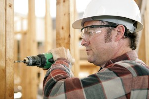 Wearing protective glasses is important when working on the home.