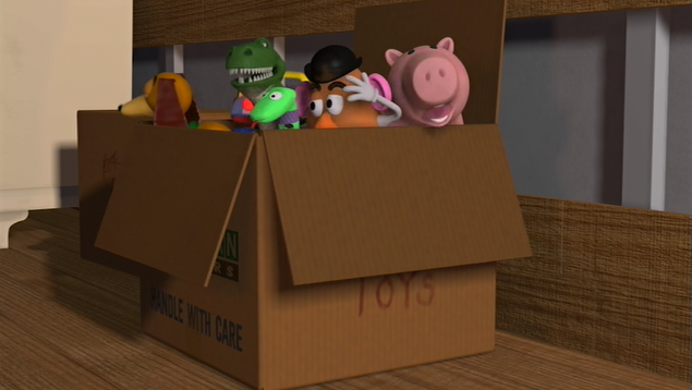 Andy's Toys need to be properly secured in the moving box.